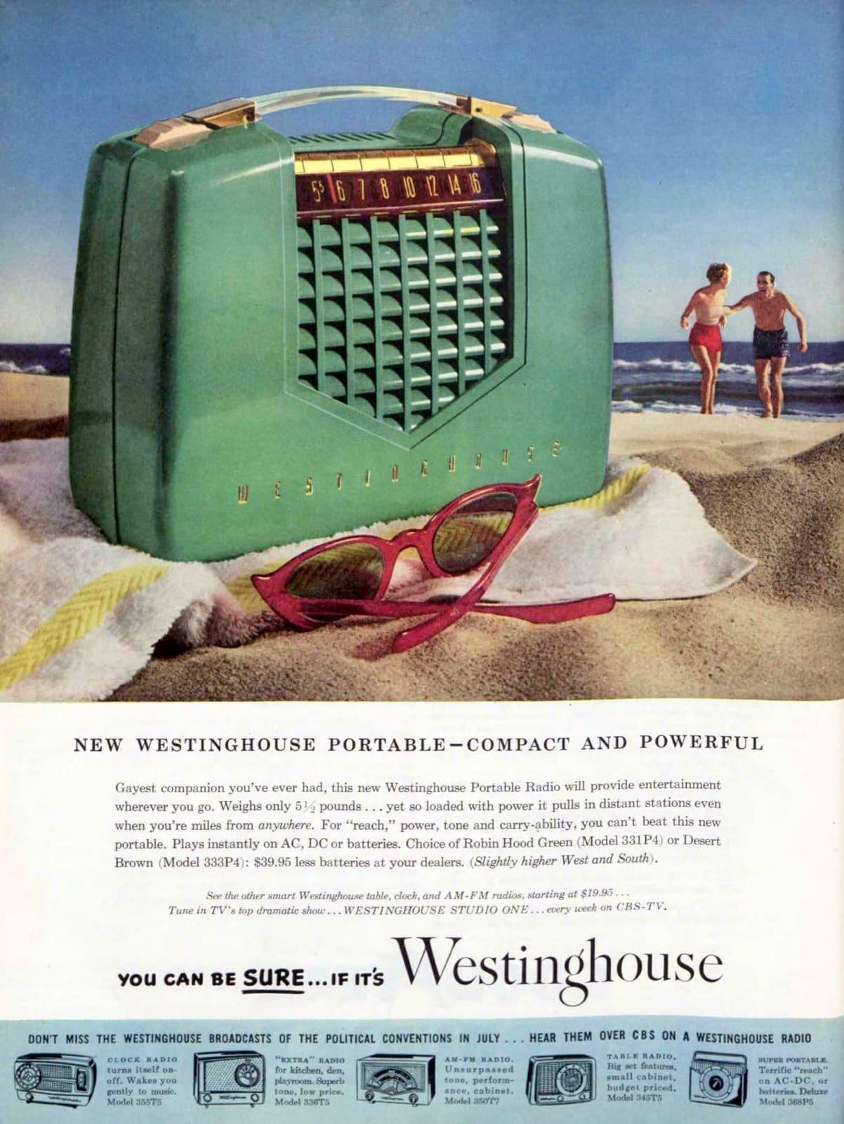 Vintage green Westinghouse portable radio (1952)