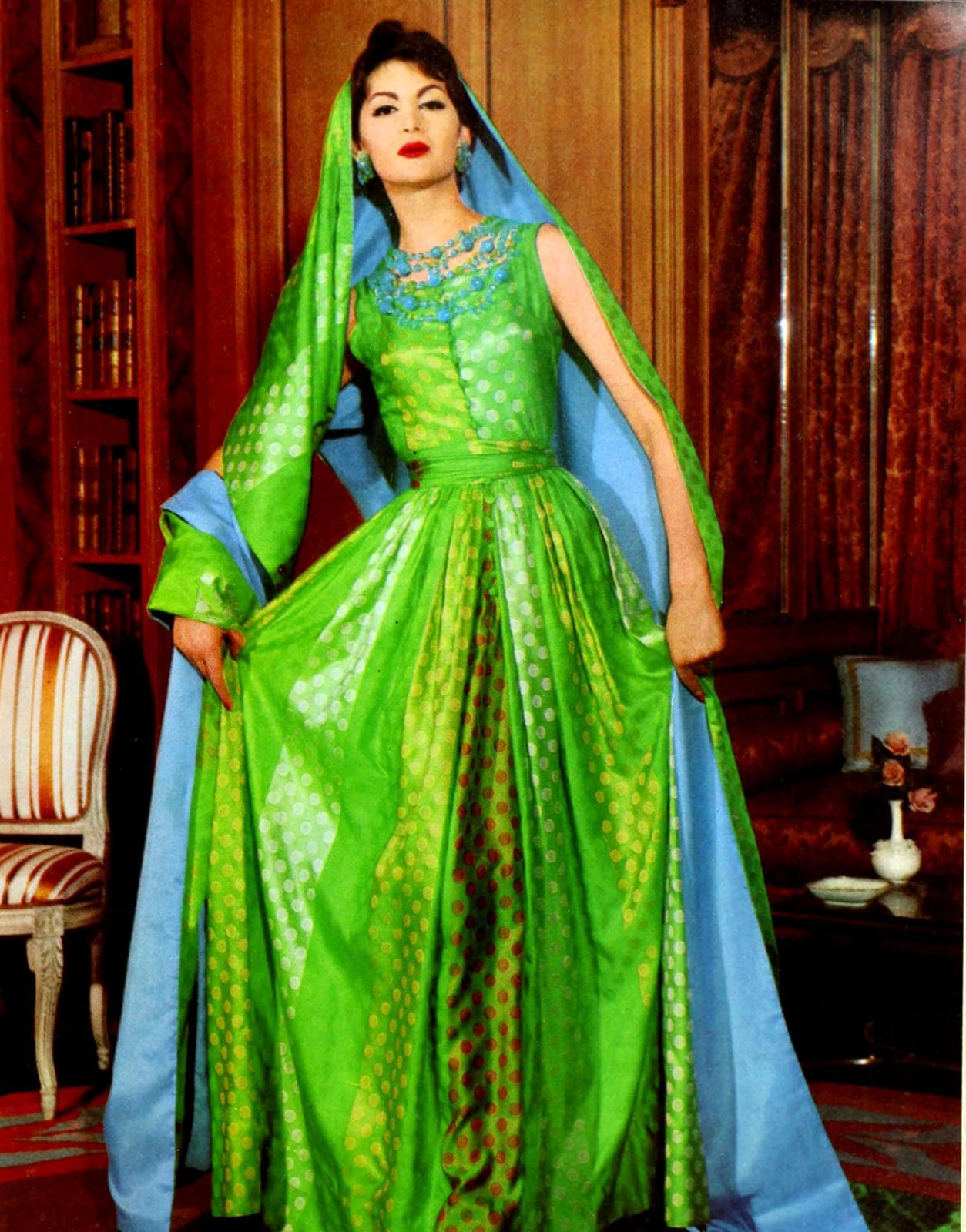 Vintage green and blue sari dress from America in the 1950s