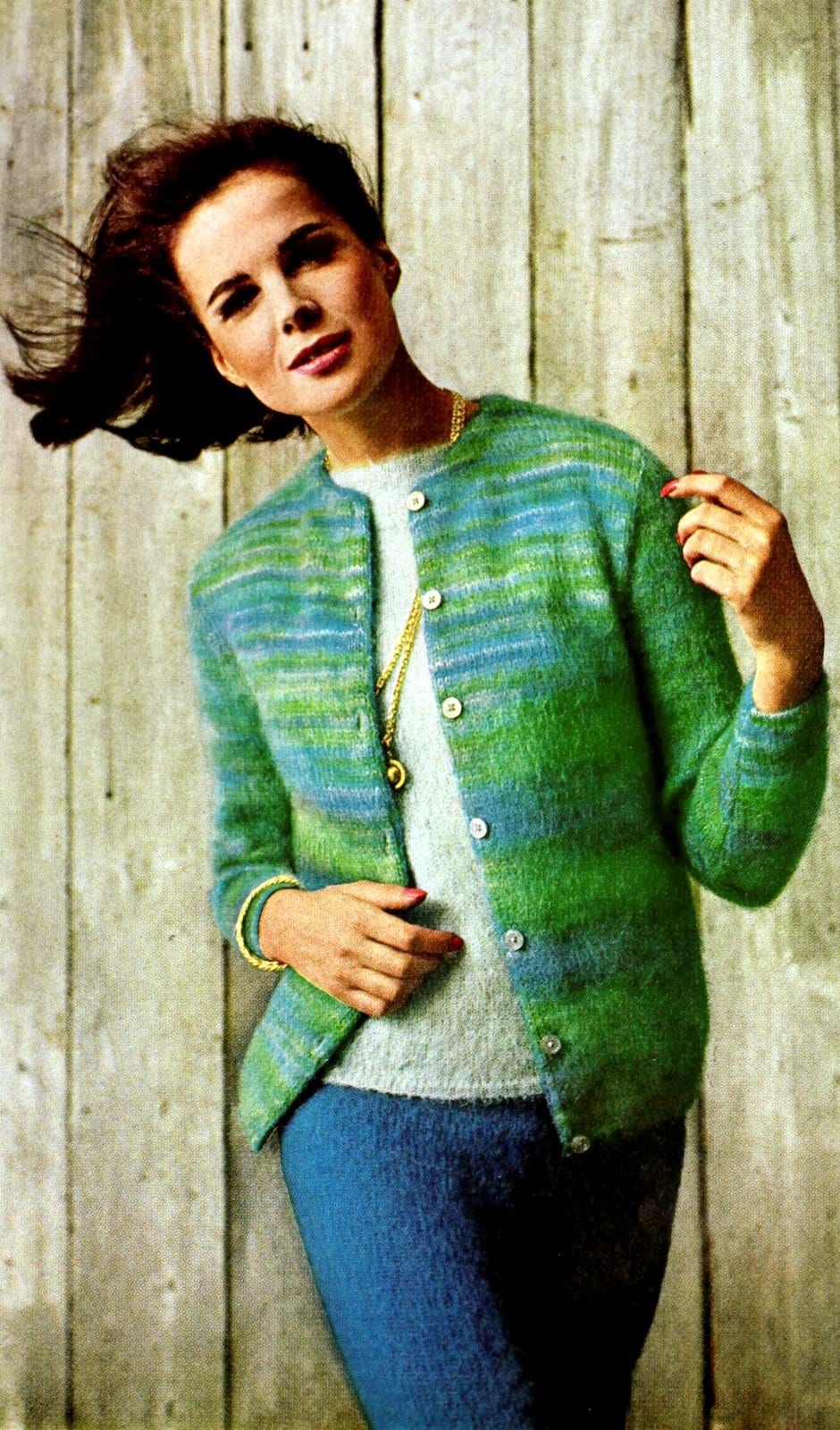 Vintage green and blue wool sweater from 1964