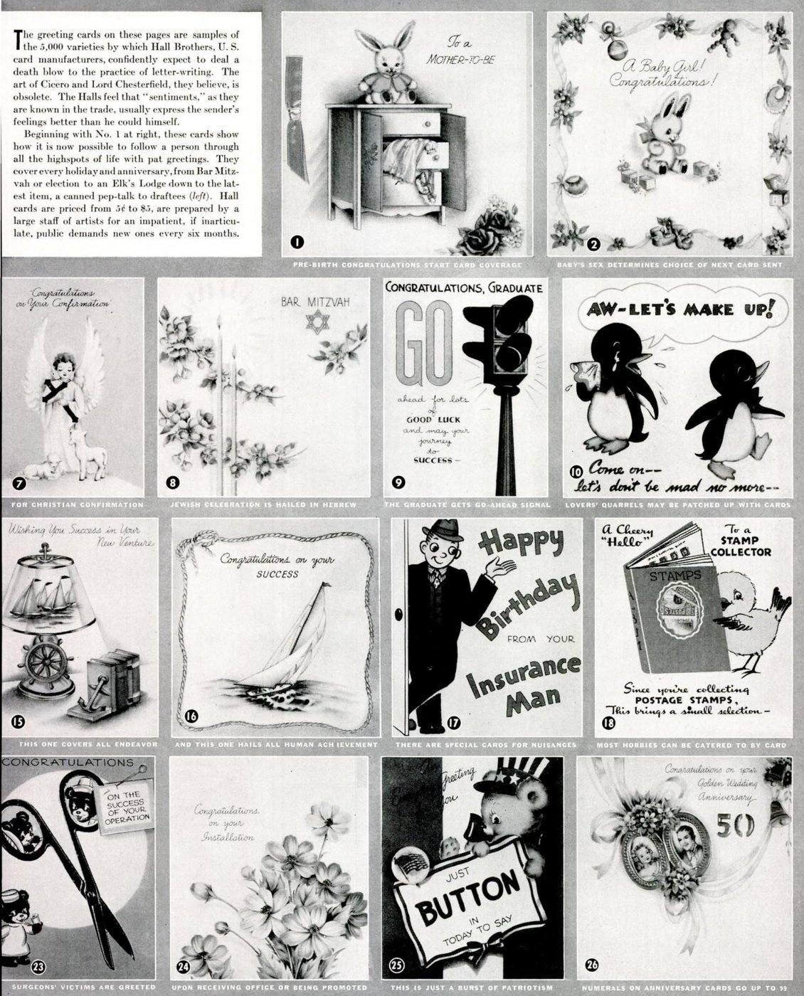 Vintage greeting cards from 1941 B