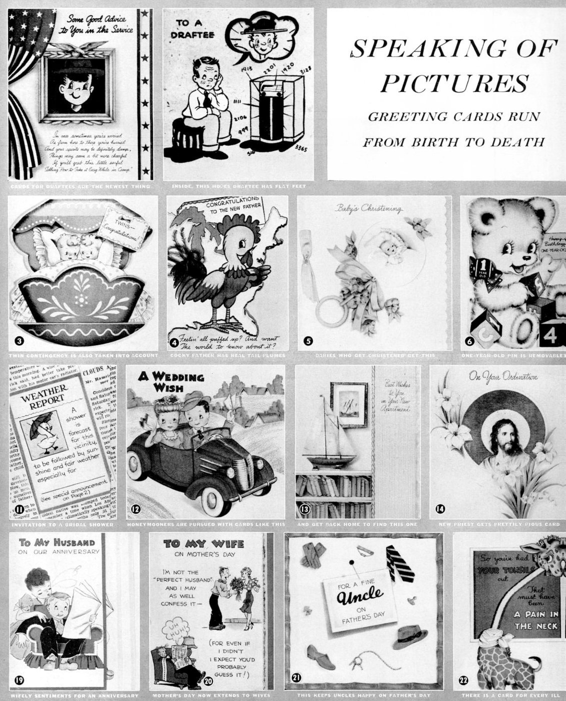 Vintage greeting cards from 1941