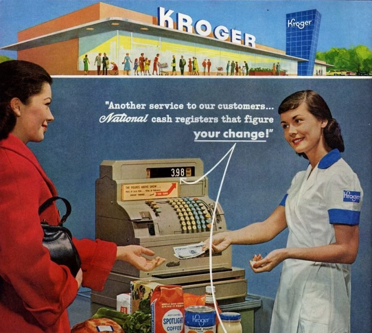 Vintage grocery store cash registers from the 50s - 1957
