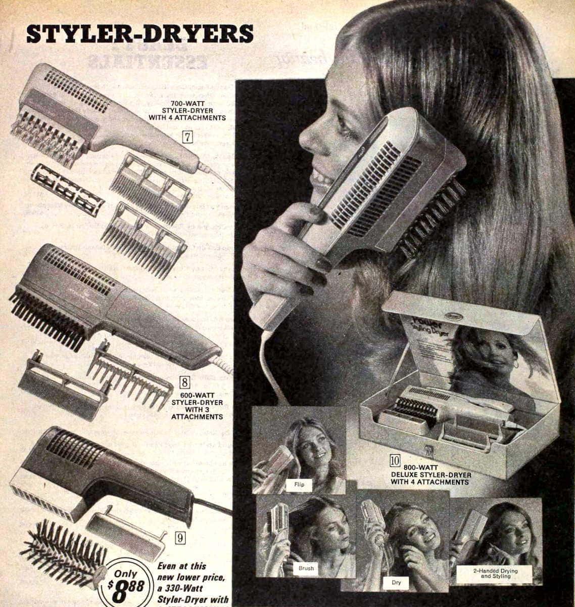 Vintage hairstylers hairdryers 1974