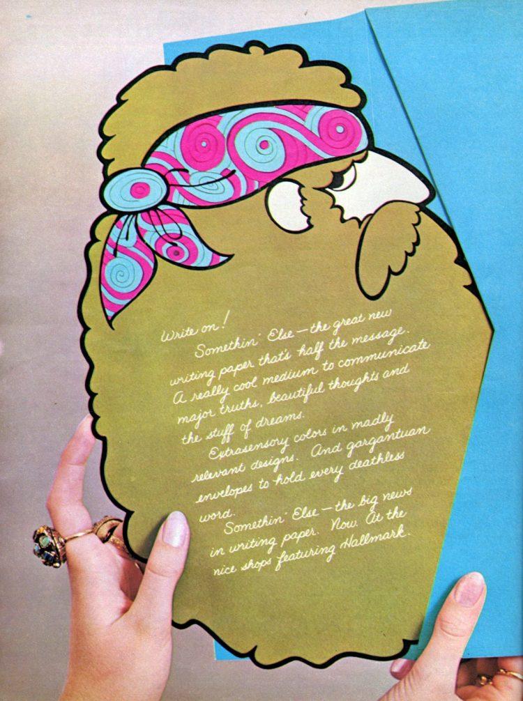 Vintage hallmark note cards - Old hippie 1970