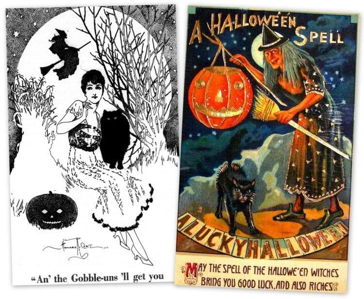 Vintage halloween drawings
