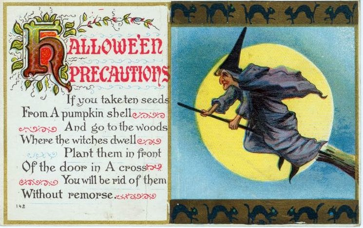 Vintage Halloween witch postcard from the 1900s