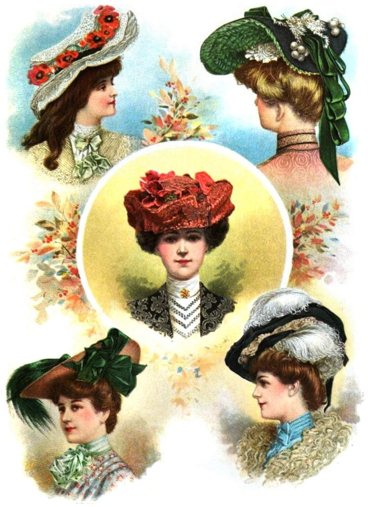 Vintage hats with ribbons and bows