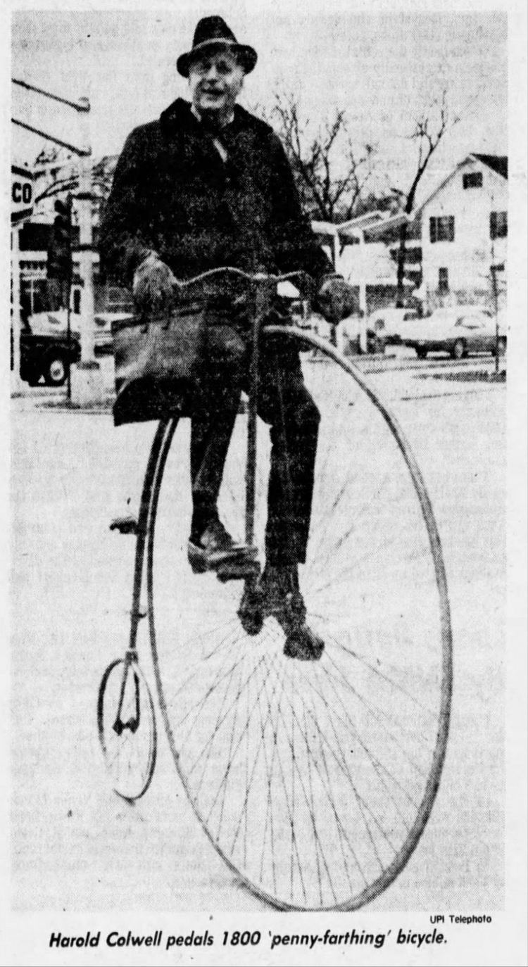 Vintage high wheel bicycle penny-farthing bike from 1976