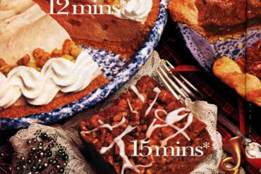 Vintage holiday desserts Scrumptious apple crunch cake, pumpkin cream pie delight luscious pecan pie recipes