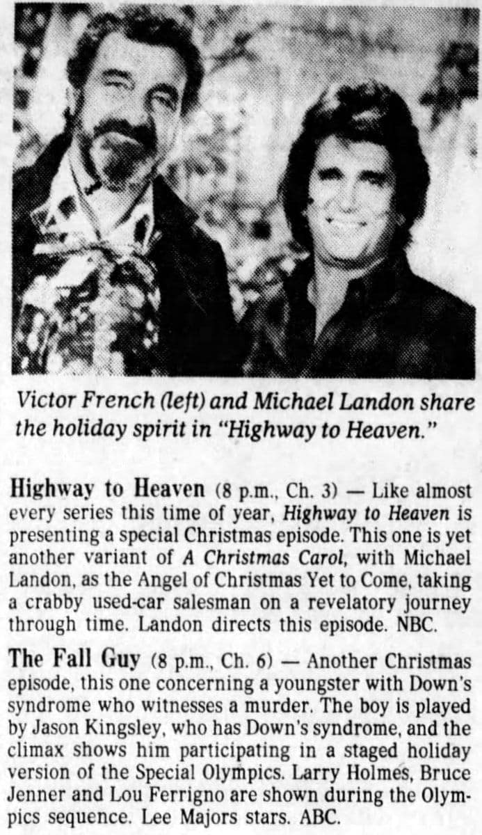 Vintage holiday specials - Highway to Heaven and The Fall Guy - 1984