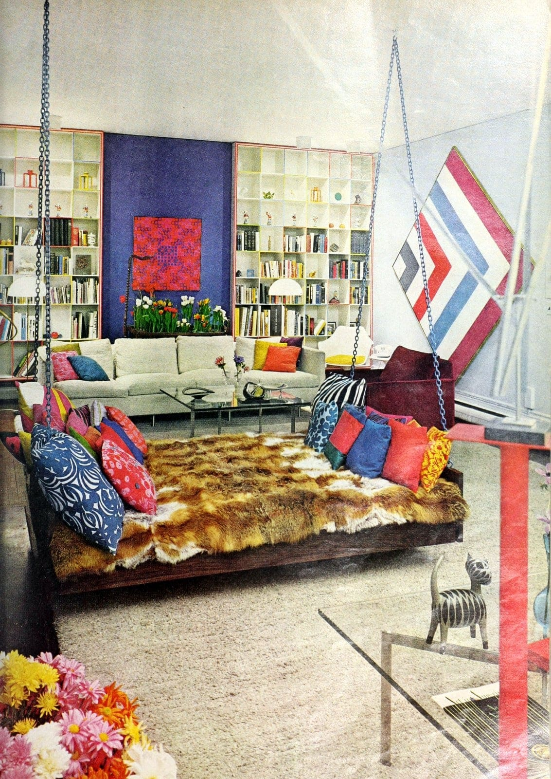 Vintage home decor from 1968 - Swinging sofa and bookshelves