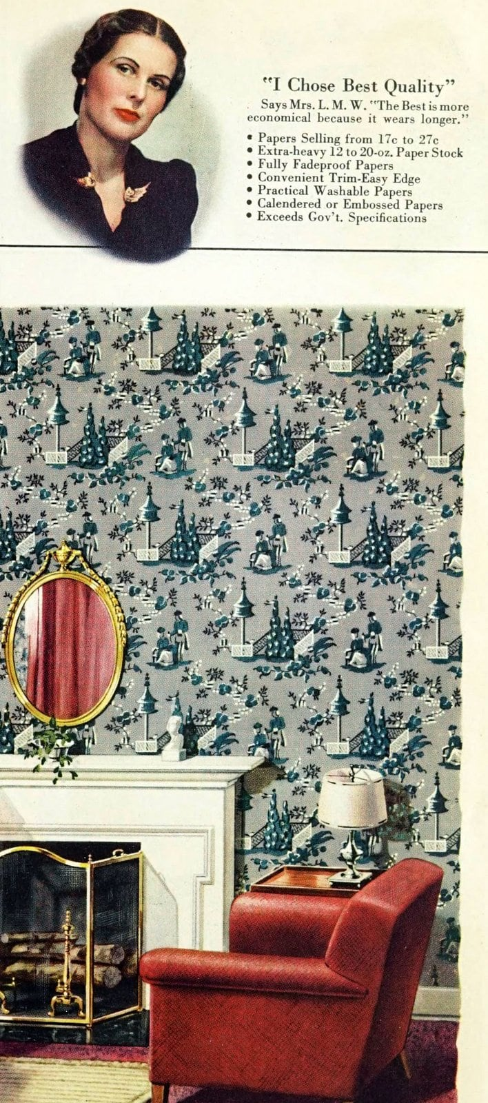 Vintage home decor with wallpaper from 1940 (3)