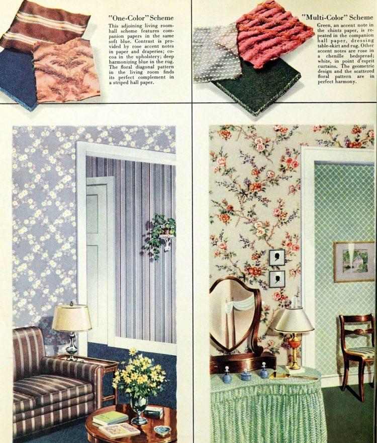 Samples of 1940s vintage wallpaper
