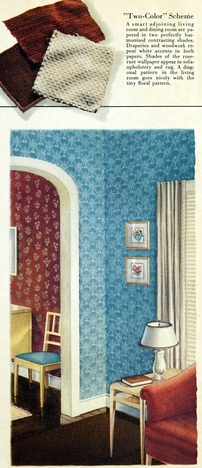 1940s vintage wallpaper styles, patterns and colors
