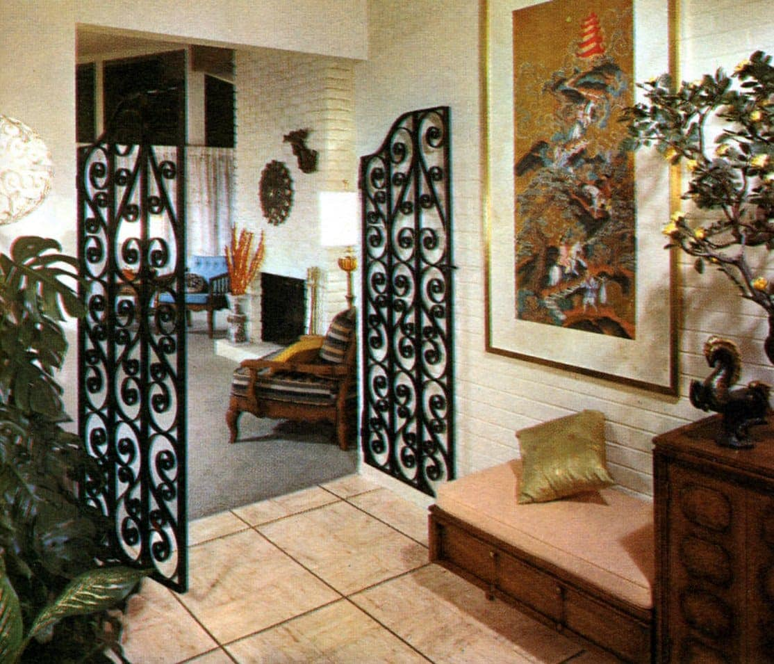 Vintage home gates from entry hall into living room