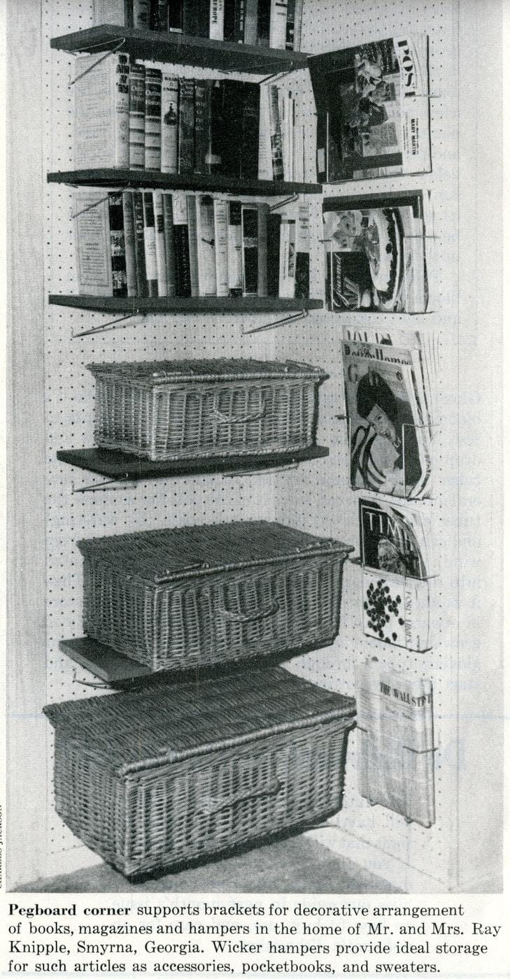 Vintage home organization - Pegboard shelving 1959