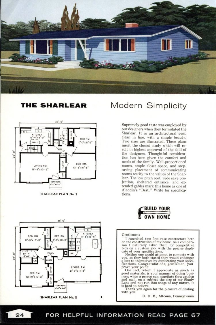 Vintage home plans from 1961 by the Aladdin Company (13)