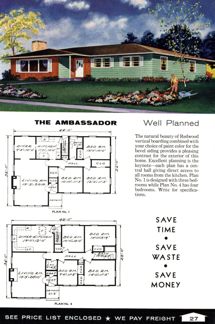 Vintage home plans from 1961 by the Aladdin Company (15)
