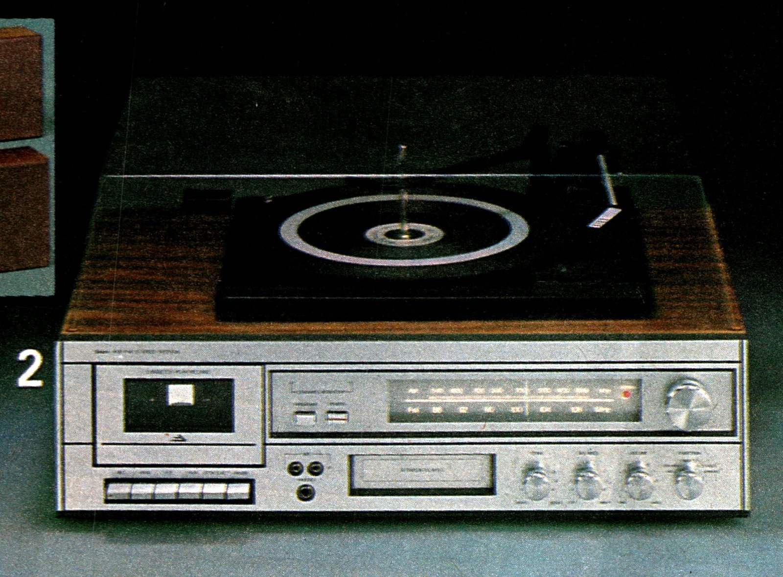 Vintage home stereo turntable with tape deck