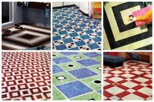 Vintage home style 1950s vinyl floor tiles in square patterns