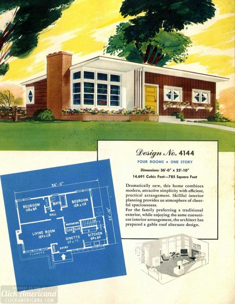 Vintage house plans from 1951 for small suburban homes - at Click Americana (1)