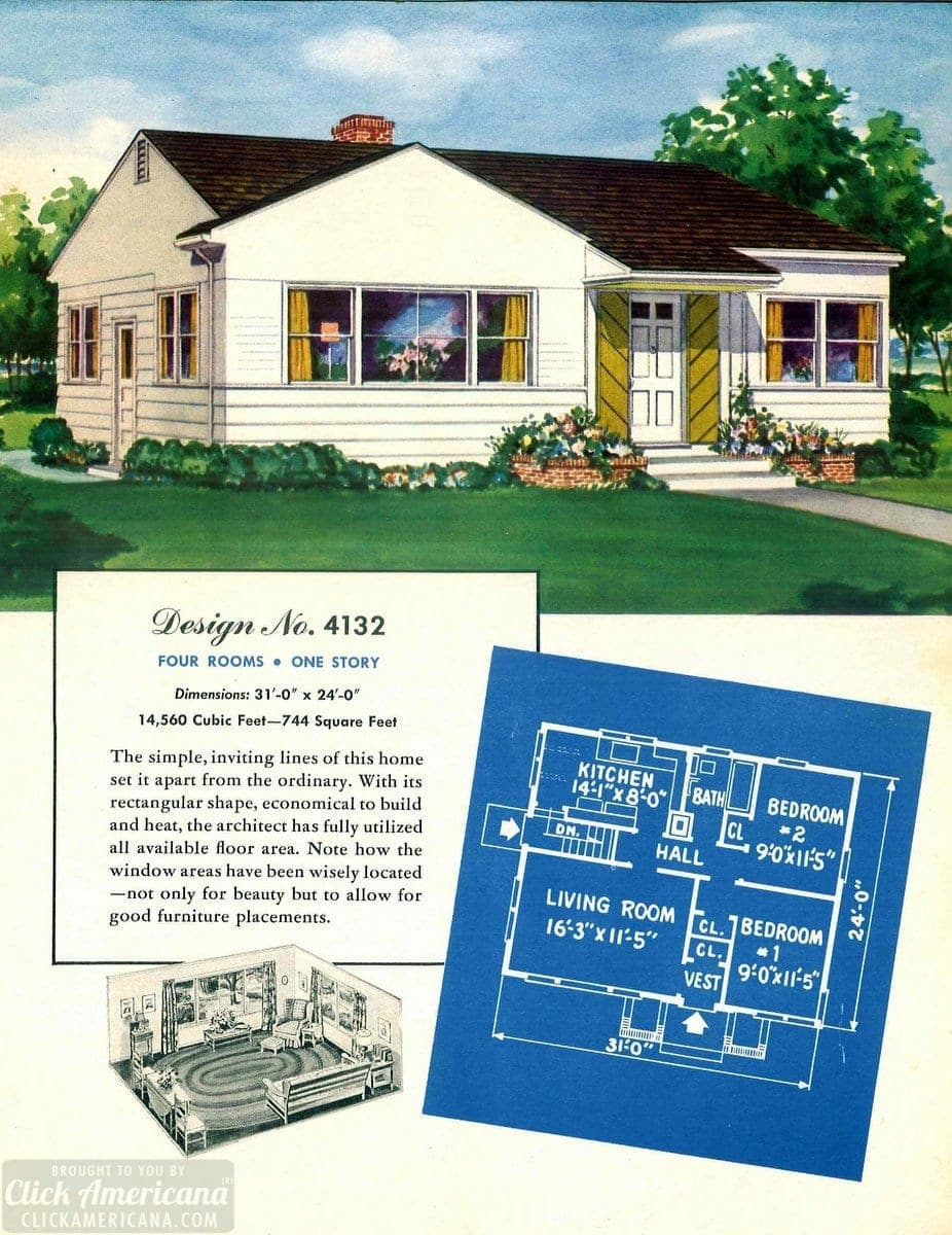 Vintage house plans from 1951 for small suburban homes - at Click Americana (11)