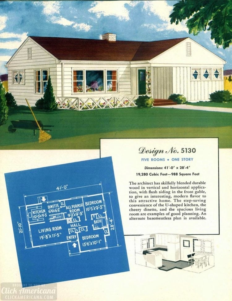 Vintage house plans from 1951 for small suburban homes - at Click Americana (12)