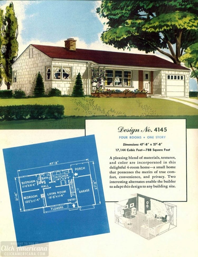 Vintage house plans from 1951 for small suburban homes - at Click Americana (2)