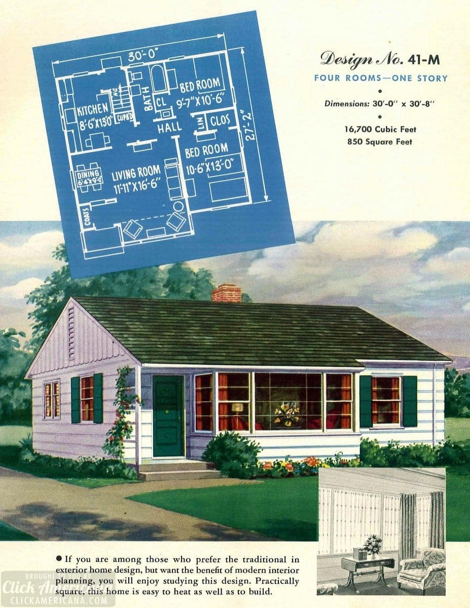 Vintage house plans from 1951 for small suburban homes - at Click Americana (3)