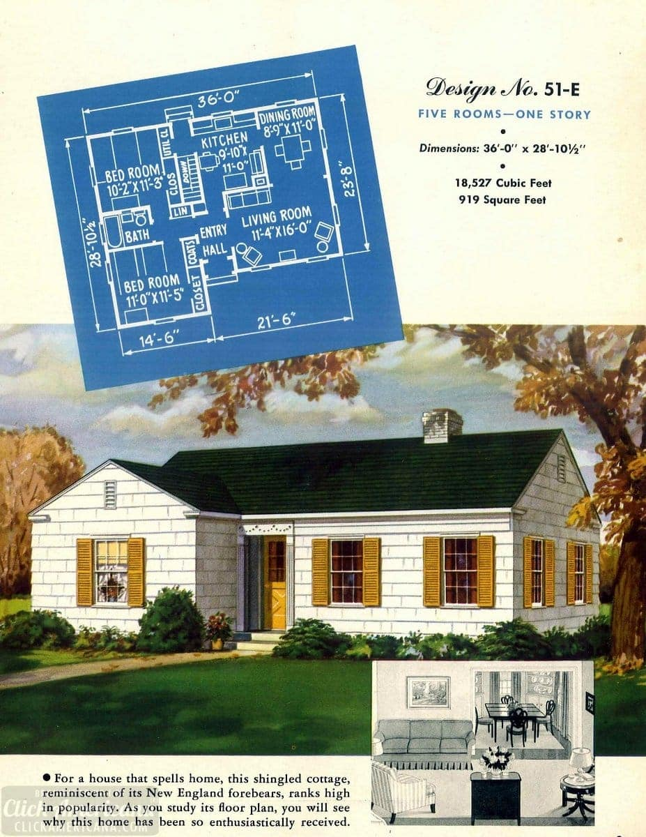 Vintage house plans from 1951 for small suburban homes - at Click Americana (7)