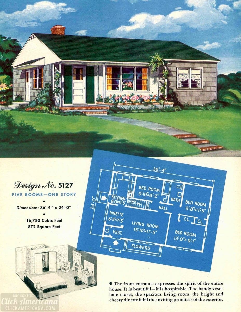 Vintage house plans from 1951 for small suburban homes - at Click Americana (8)