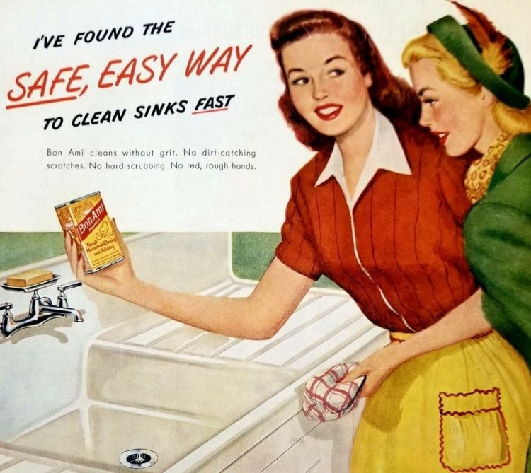 Vintage housewife - Bon Ami cleaning the kitchen sink