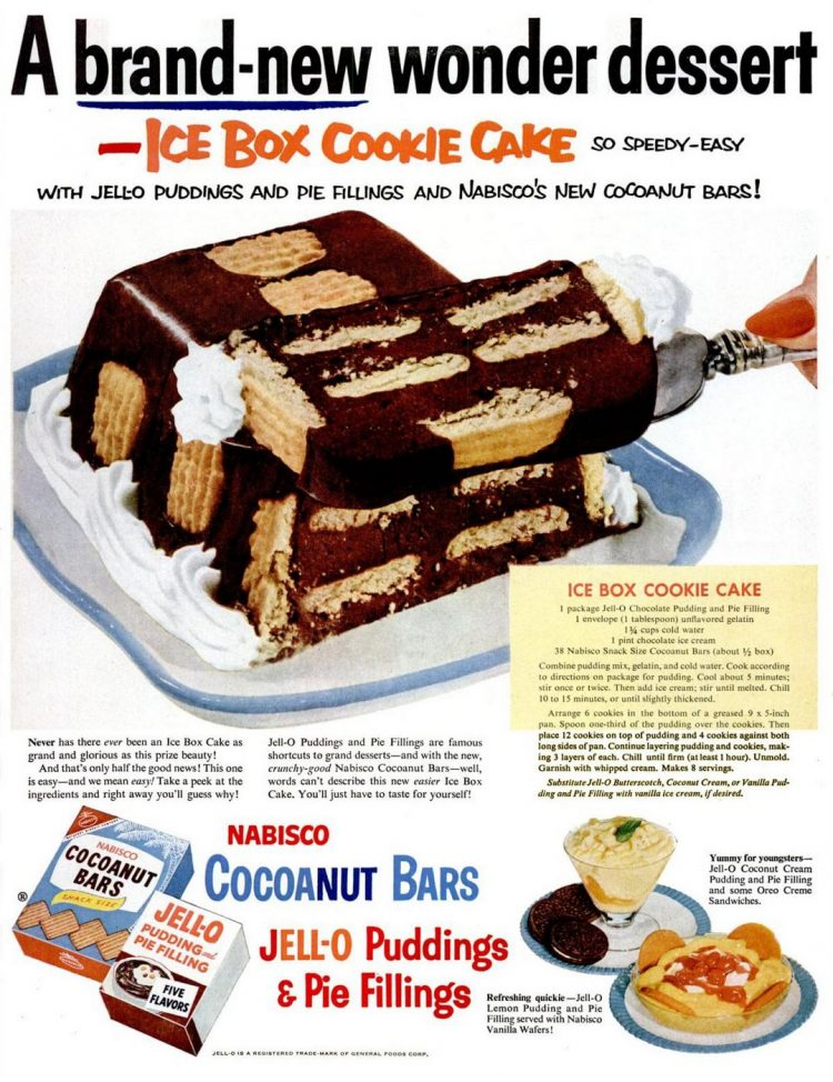 Vintage ice box cookie cake recipe from 1953