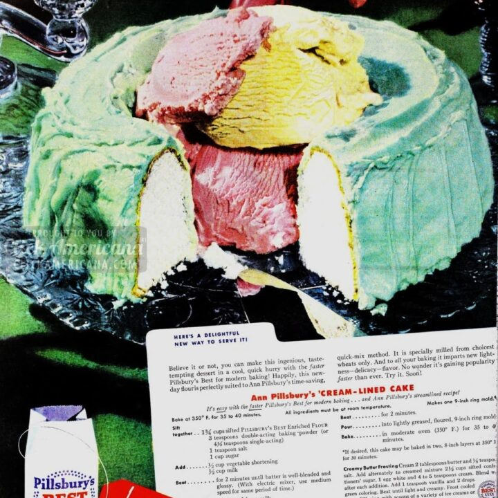 Ice cream-lined cake (1949)