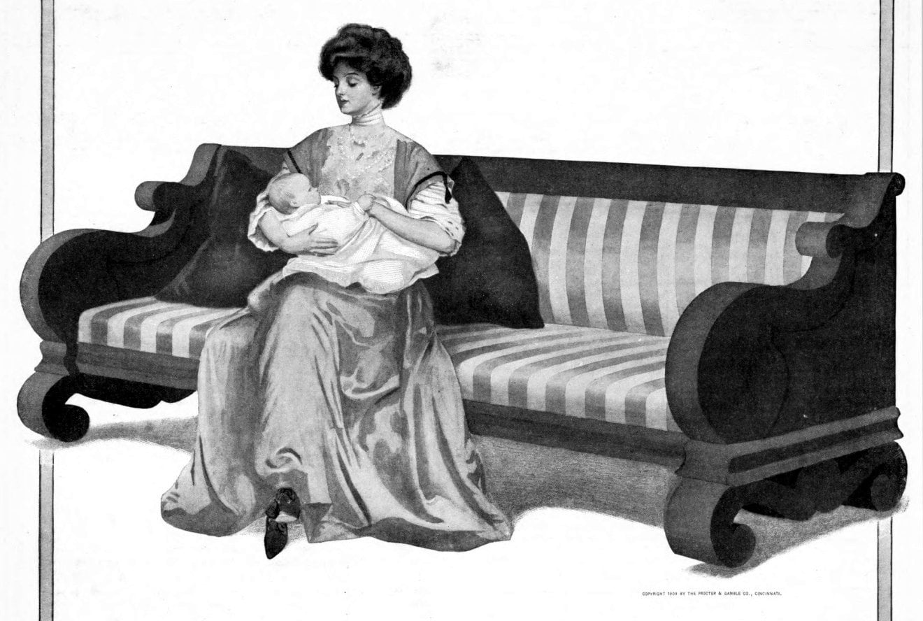 Vintage illustration of an old-fashioned mother and baby