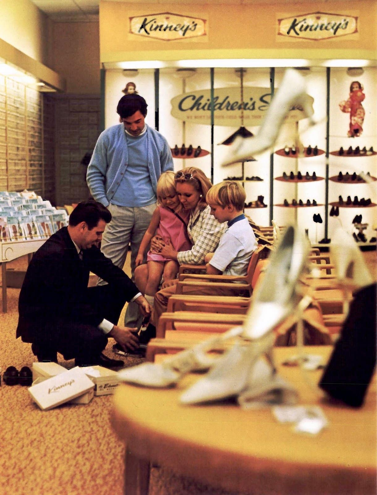 Vintage interior of a Kinney's shoe store (1968)