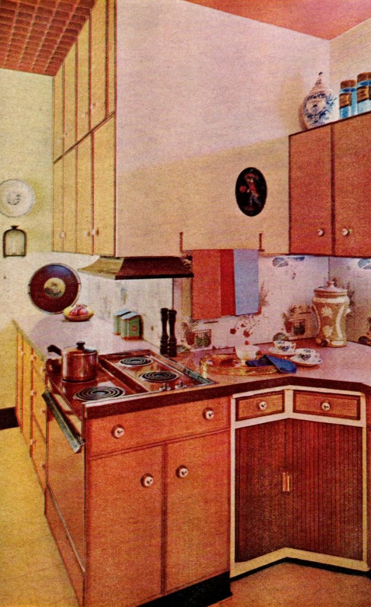 Vintage kitchen design with compact shape and unusual angles from 1960s