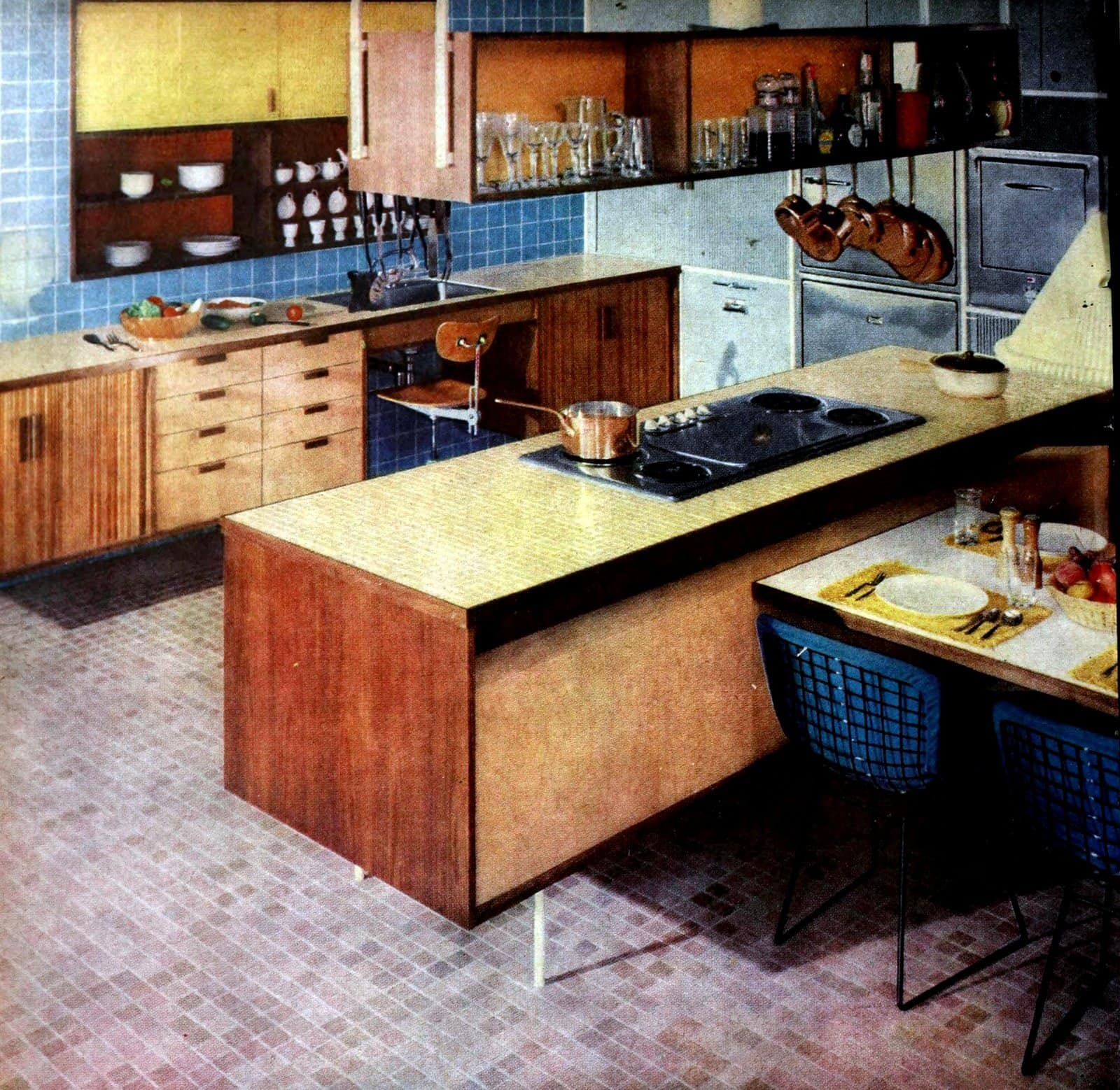 Vintage kitchen design with tile floors, walls and countertops (1960)