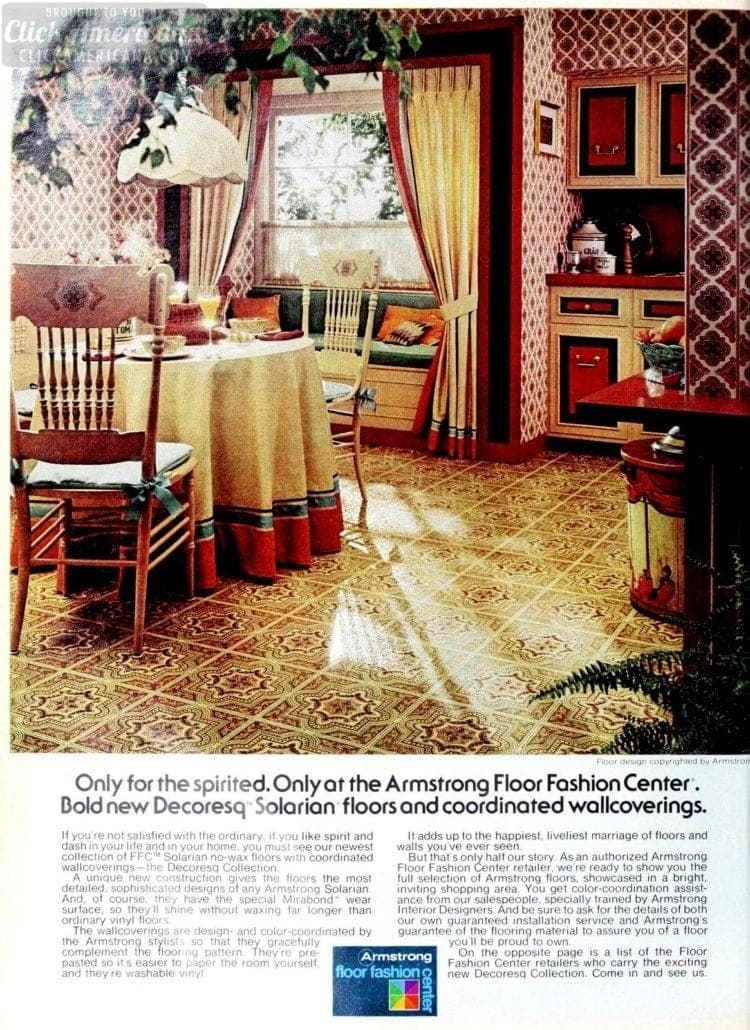 Vintage kitchen flooring and wallpapers from 1976