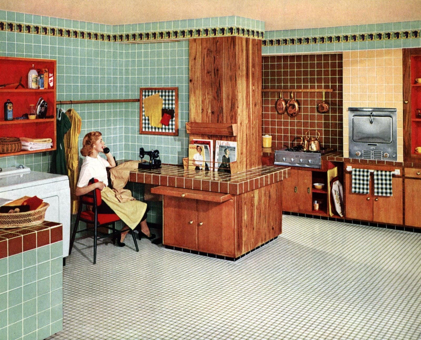 Vintage kitchen-laundry area with tile walls, counters and floors
