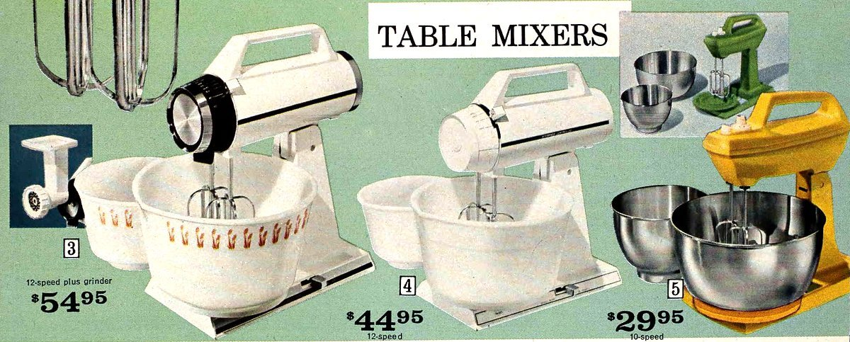 Vintage kitchen table mixers from Sears (1971)