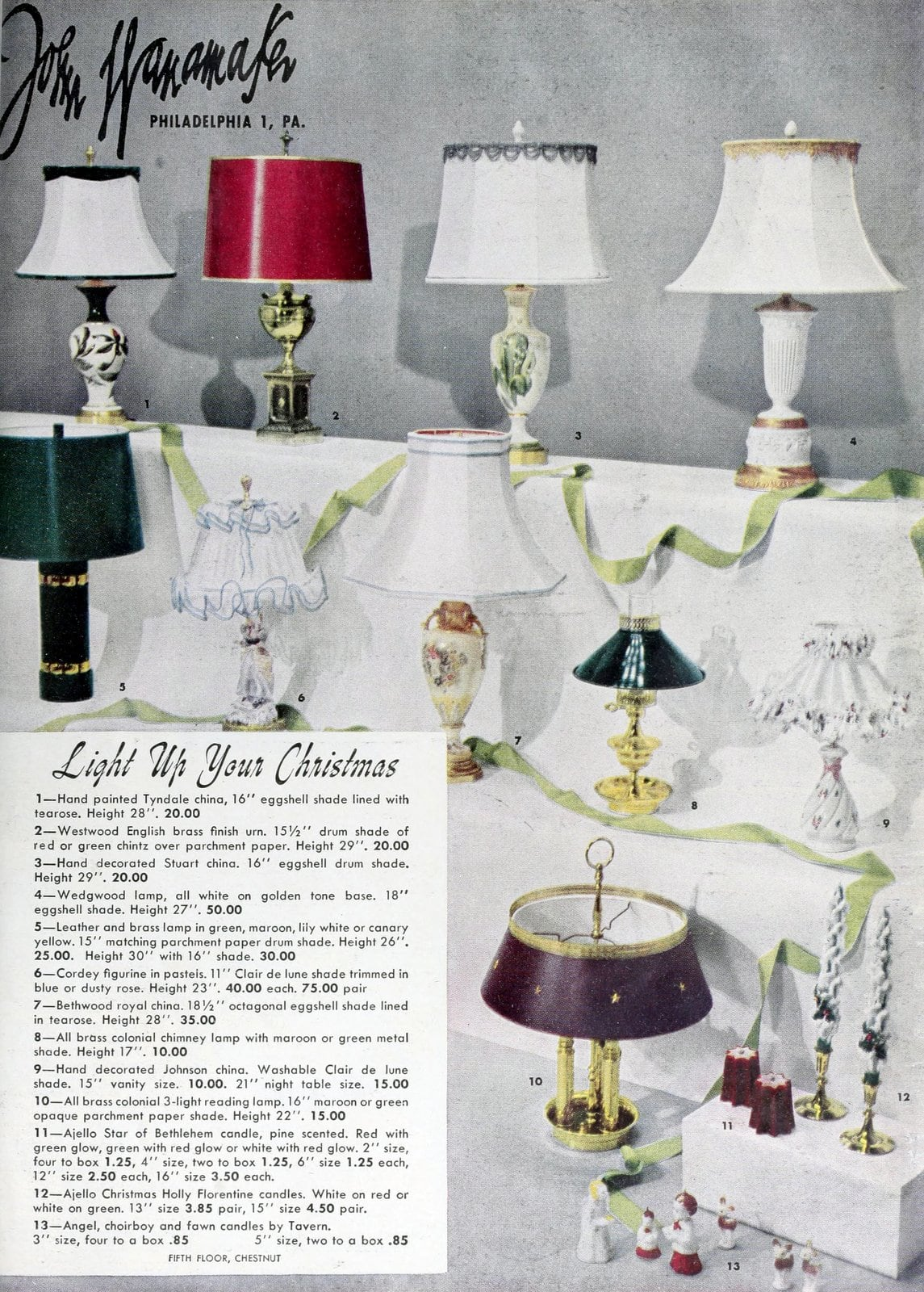 Vintage lamp and light styles from Wanamaker's (1948)