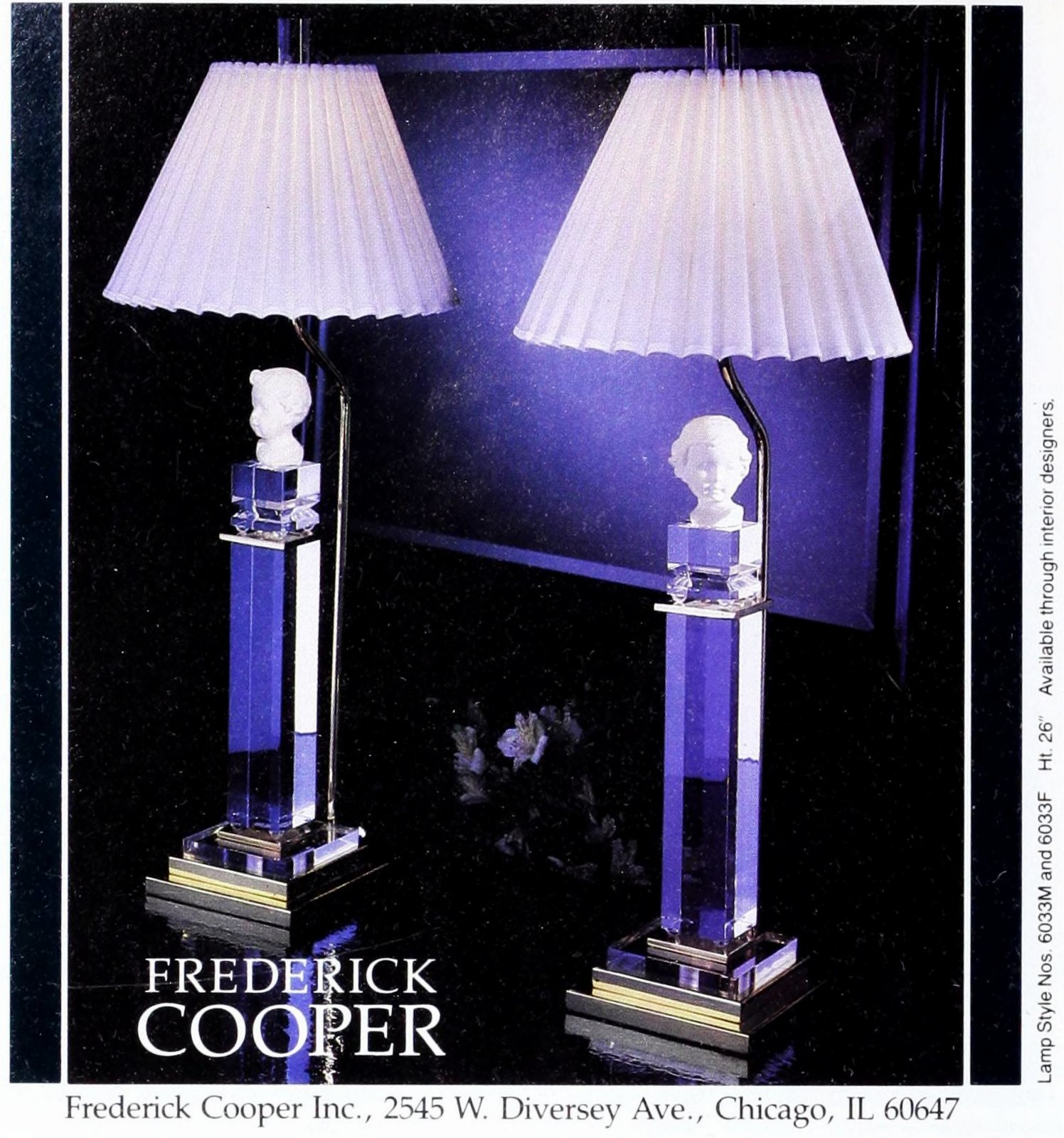 Vintage lamps with squared crystal column bases topped with porcelain doll heads (1989)