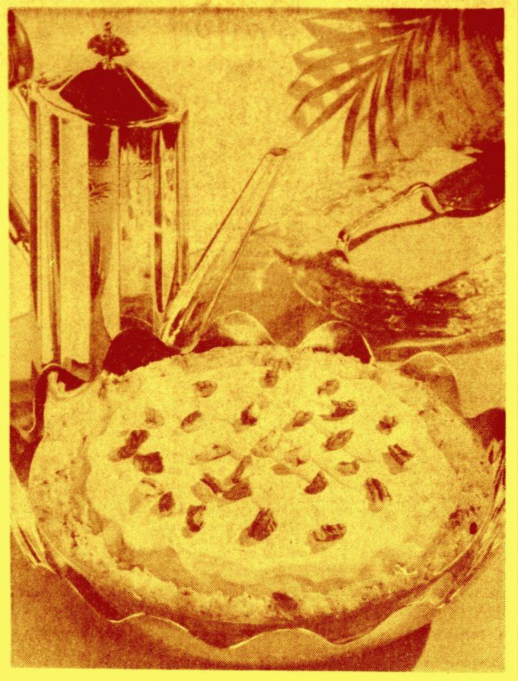 Vintage lemon cheesecake pie recipe Cottage cheese version 1971