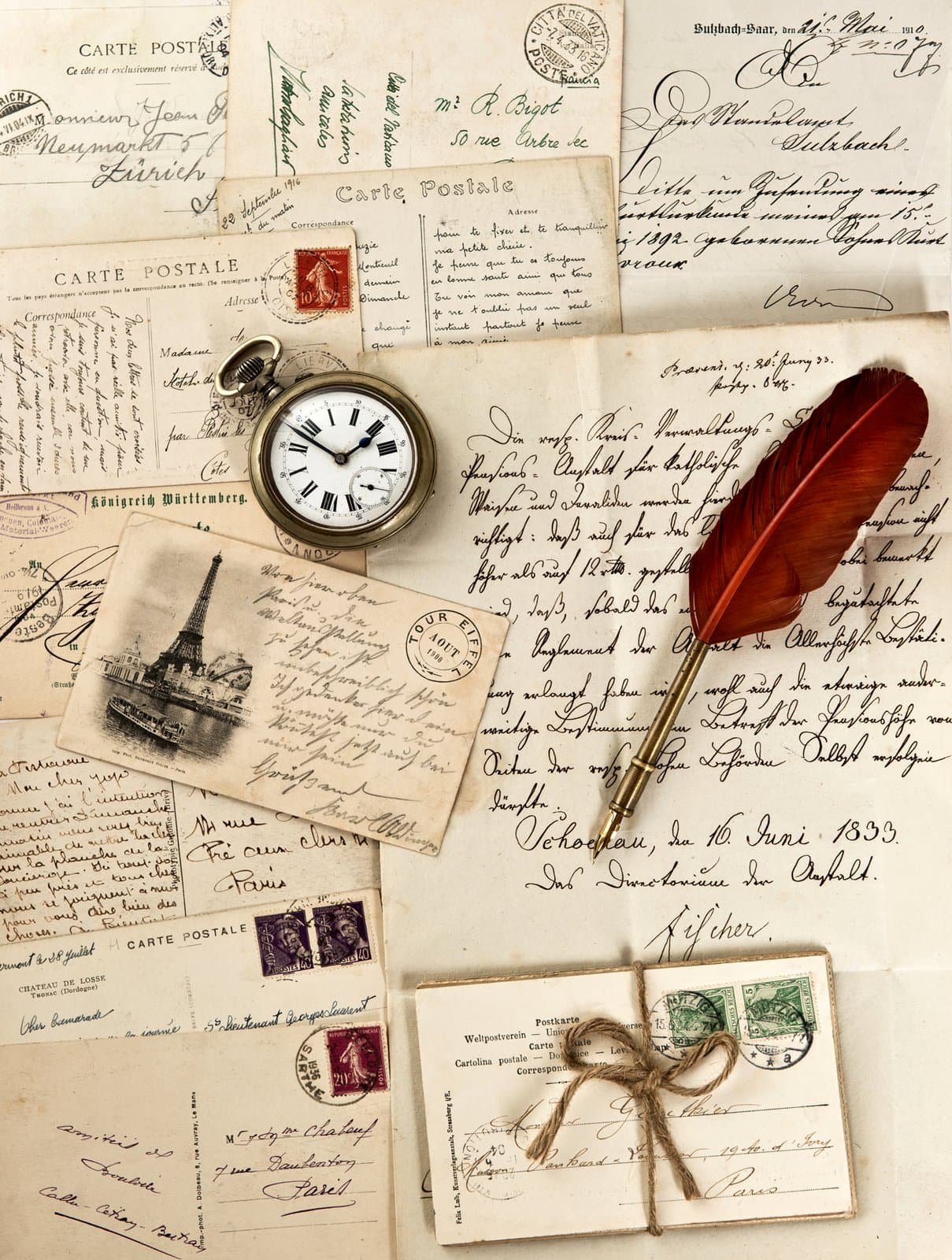 Vintage letters and postcards
