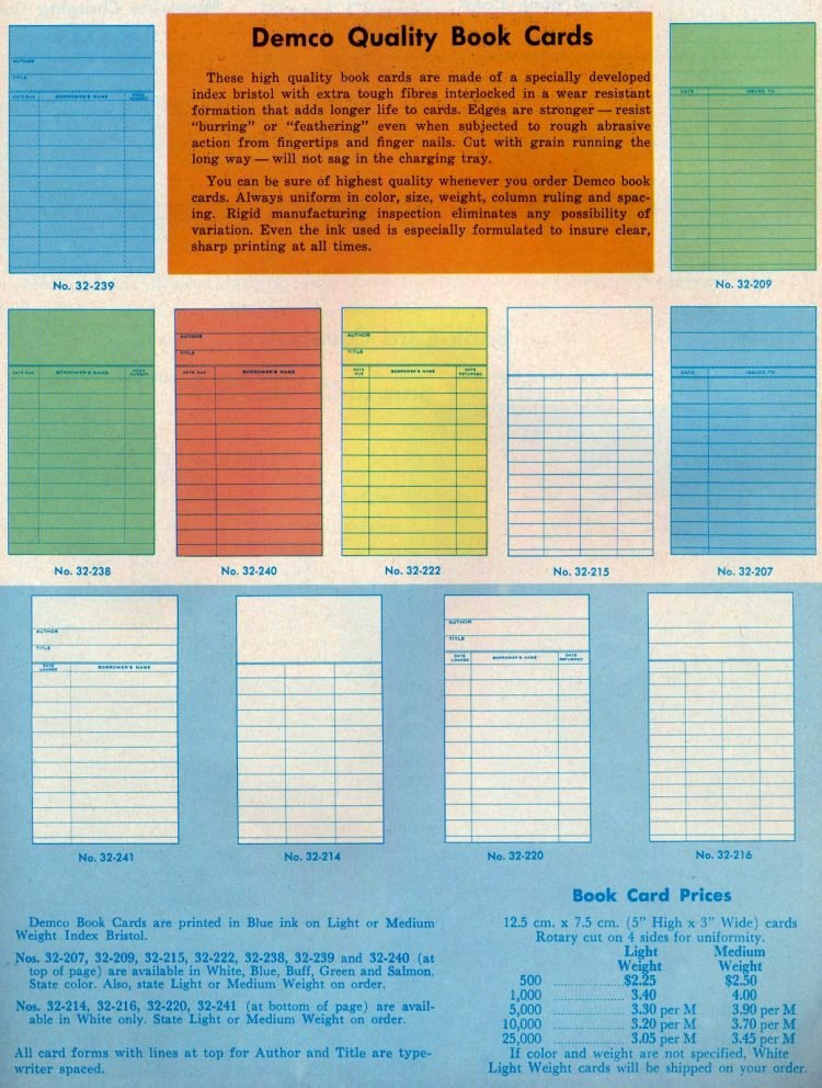 Vintage library book cards and due date slips catalog (1)