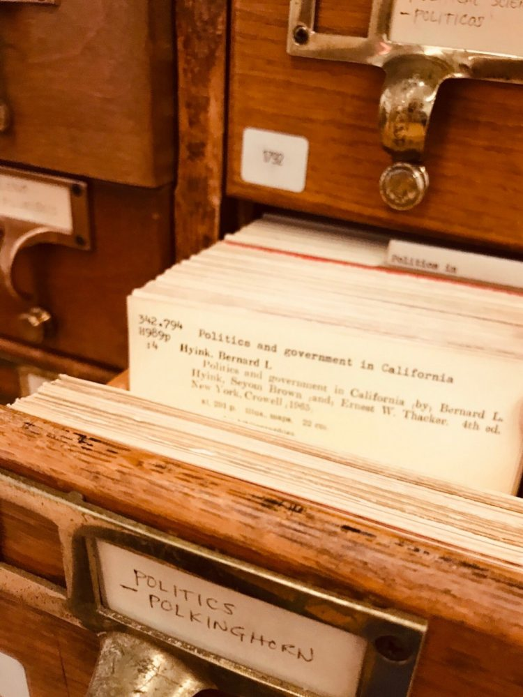 Vintage library card catalogs