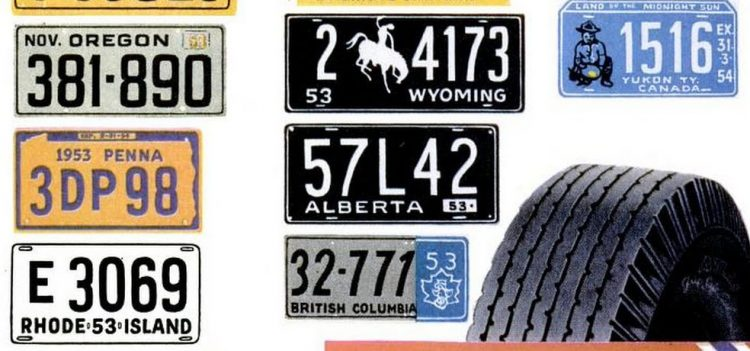 Vintage license plates from 1953 (1)