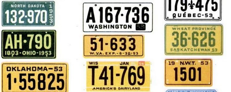 Vintage license plates from 1953 (10)