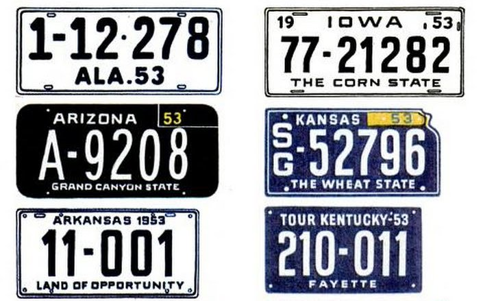 Vintage license plates from 1953 (2)